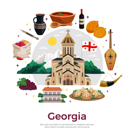 Georgia for tourists flat round composition poster with mountains landmarks musical instruments wine spices dishes vector illustration 免版税图像 - 114519459