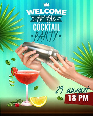 Realistic cocktail party colorful poster with bartender hands making delicious drinks vector illustration