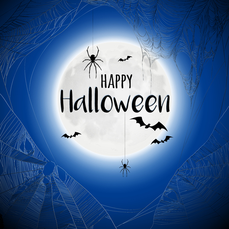 Happy halloween beautiful black blue background poster with flying bats and spiders hanging from cobwebs vector illustration Foto de archivo - 114519480