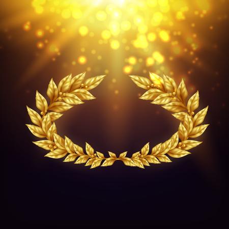 Fondo brillante con la corona dorata dell'alloro dentro nei raggi luminosi e nell'illustrazione realistica di vettore di abbagliamento Vettoriali
