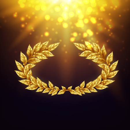 Shiny background with golden laurel wreath in in bright rays and glare realistic vector Illustration Ilustracja