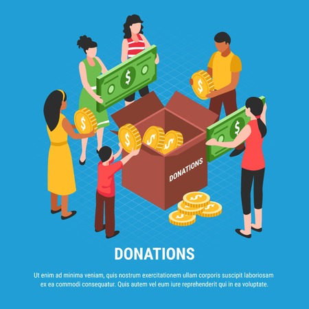 Donations advertising  background with people putting coins and bills in donation box isometric vector illustration