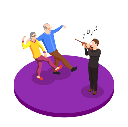 Leisure of elderly couple isometric composition with elder man and woman dancing under live music vector illustration Illustration