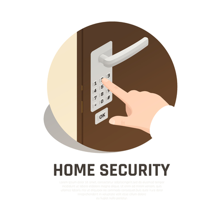 Home security round composition with human hand hand dialing lock code on front door isometric vector illustration