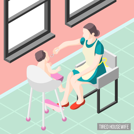 Tortured housewife isometric background with mother nursing her little child vector illustration Illustration