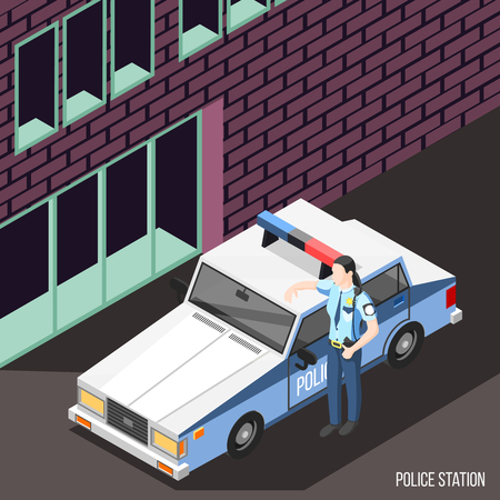 Police station isometric background with female character in policeman uniform standing near police car with flashing lights vector illustration