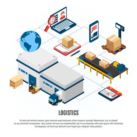 Online delivery service logistics isometric flowchart with freight vehicles and warehouse building 3d isometric vector illustration Vektoros illusztráció