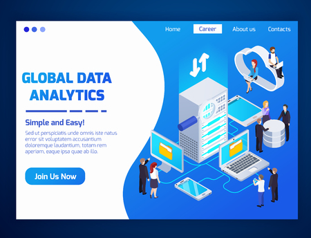 Global data analytics professionals home page glow isometric website design with cloud wireless access technologies vector illustration