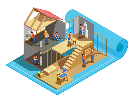 Construction workers with professional tools and blueprint during building of house isometric composition vector illustration