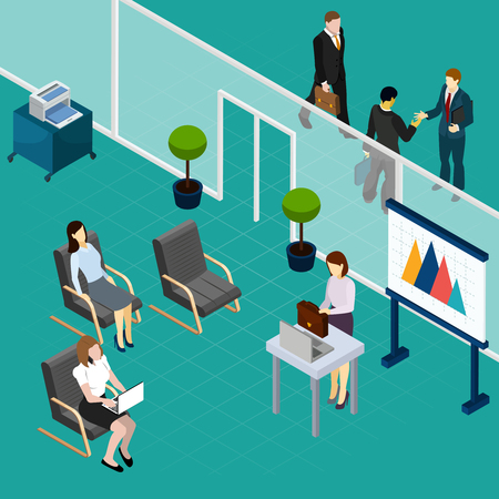 Office staff training isometric composition with lecturer and waiting workers interior elements vector illustration Illustration