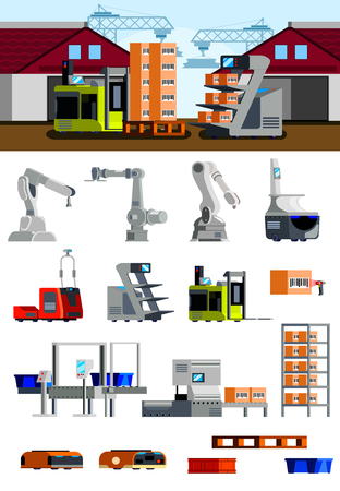 Warehouse robots flat icons with automated loaders mechanical arms and equipment for bar coding isolated vector illustration