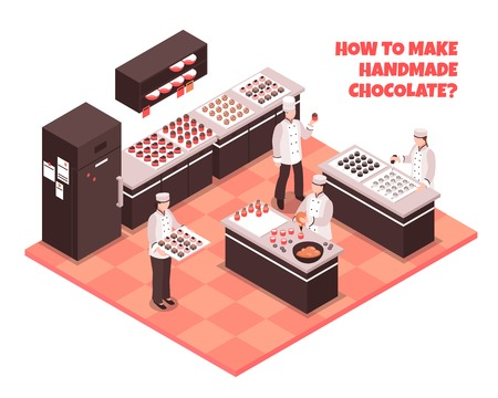 Chocolate manufacture isometric composition with staff showing how to make handmade chocolate vector illustration