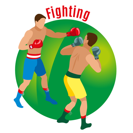 Box isometric background with faceless human characters of two men in boxing gloves with editable text vector illustration