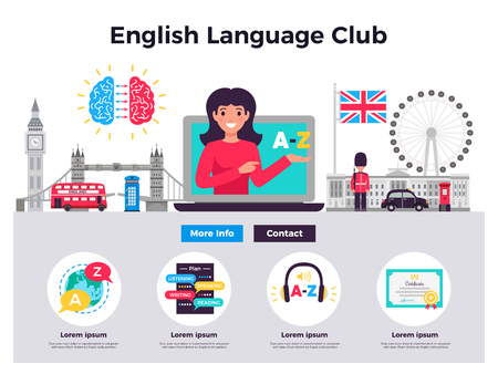 English language club website 2 flat horizontal banners design with training programs contacts big ben vector illustration