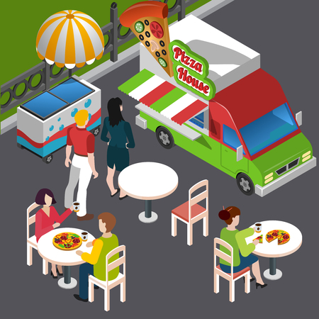 Street food isometric composition including customers at outdoor tables vehicle with signage pizza vector illustration Illustration