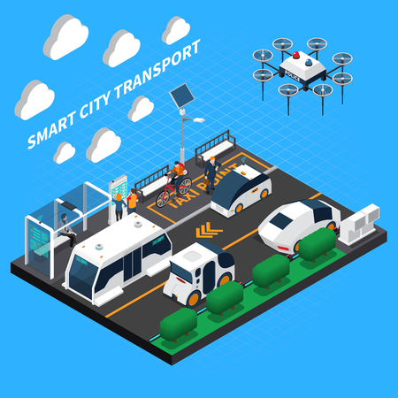 Smart city isometric concept with transport and taxi point symbols vector illustration Фото со стока - 114519545