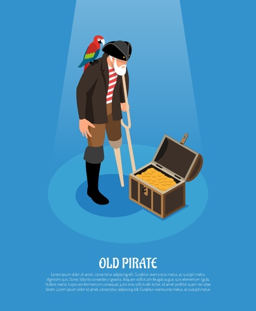 Old pirate with wooden leg and parrot near treasure chest isometric composition on blue background vector illustration