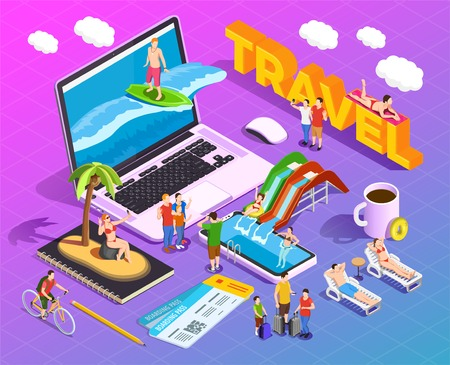 Travel isometric composition on gradient background people during vacation entertainment on screens of mobile devices vector illustration Illustration
