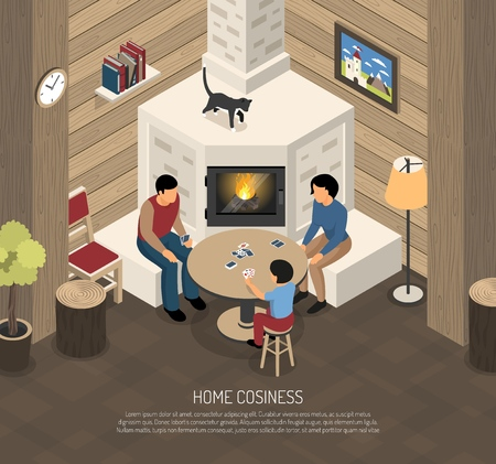 Home cosiness composition with family during playing cards near fire place isometric vector illustration  イラスト・ベクター素材