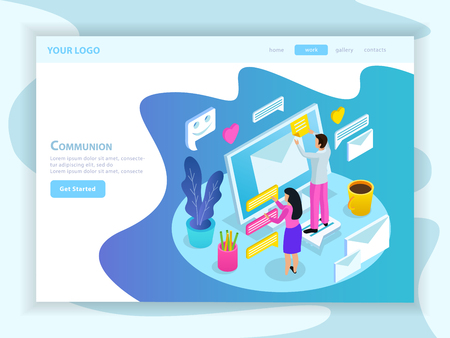 Virtual communication isometric landing web page with people touching envelope and messages on computer screen vector illustration