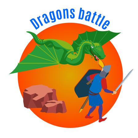Medieval isometric background with view of straight fight between dragon and human characters with editable text vector illustration Banque d'images - 114519555