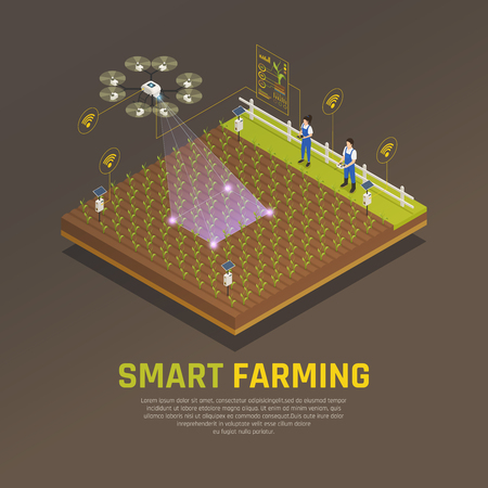 Agriculture automation smart farming composition with editable text and view of field cultivation with modern technologies vector illustration Ilustração