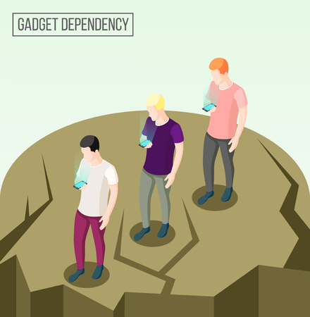 Gadget dependency isometric composition with going people going to edge of abyss looking at their smartphones vector illustration