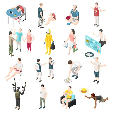 Problems of modern society isometric icons set so as domestic violence gadget dependency drunkenness education lack radioactive waste gluttony drug begging isolated vector illustration