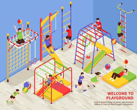 Children sport complex composition with indoor gymnastic area for kids with colourful climbing frames and text vector illustration