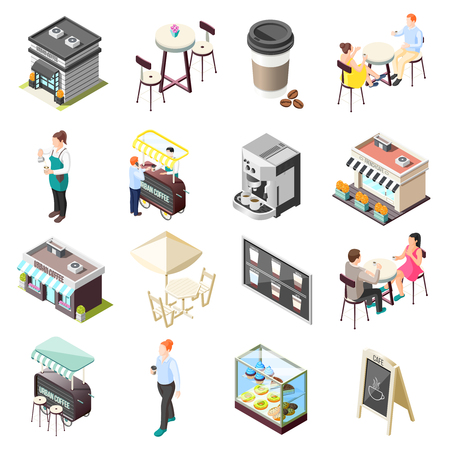 Isometric icons set with street cafe building and interior and people drinking coffee isolated on white background 3d vector illustration