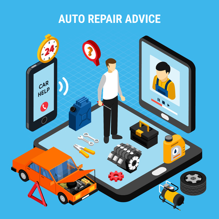 Auto repair advice isometric concept with diagnostics symbols vector illustration Banque d'images - 114796772