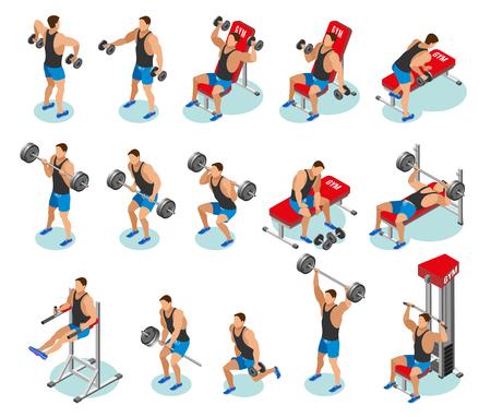 Isometrische Ikonen des Bodybuildings mit Athleten während des Trainings mit Gewichten und auf Trainingsgeräten isolierte Vektorillustration