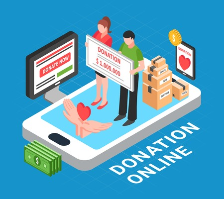 Donation online isometric composition with heart symbol in human palms and people conducting donation drive vector illustration