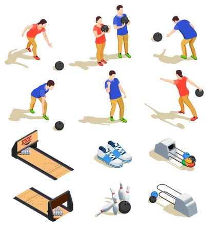 Bowling set of isometric icons with sports equipment and teams of players during game isolated vector illustration