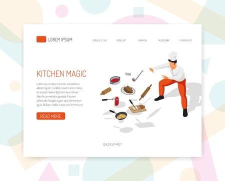 Professional cook offers food preparation training culinary art cuisine aspects concept isometric web page design vector illustration