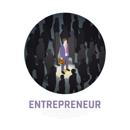 Entrepreneur concept isometric composition illuminated business man with briefcase and surrounding silhouettes of people vector illustration Çizim
