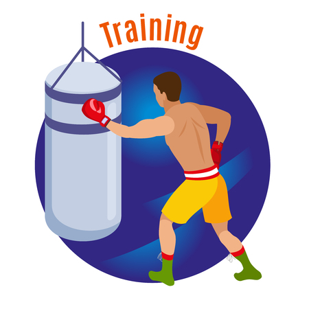 Box isometric background with human character of boxer in boxing gloves with text and punching bag vector illustration Illustration