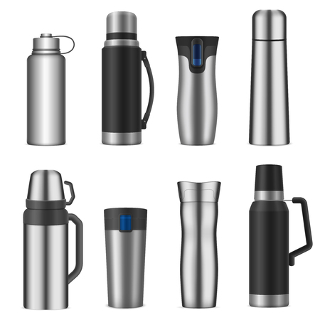 Vacuum bottles flasks insulating storage vessels for drinks food stainless steel  realistic types set isolated vector illustration