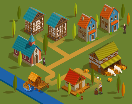 Medieval settlement architecture flat isometric composition with farm church forge buildings family houses water mill  vector illustration Illustration