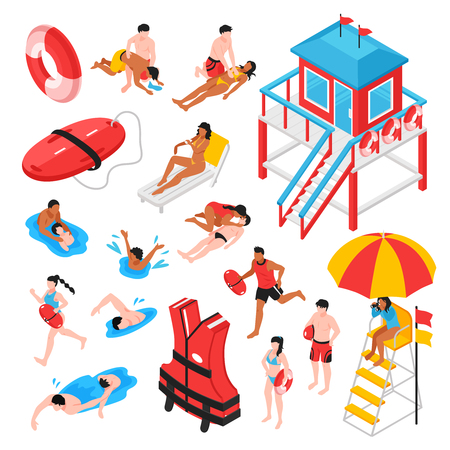 Beach lifeguard isometric set of lifeguard station rescue inventory and savers performing artificial respiration isolated vector illustration