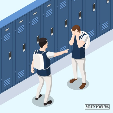 Society problems isometric composition with two teens swearing in school locker room vector illustration