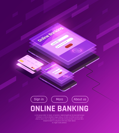 Online banking on mobile devices isometric web page with menu buttons on purple background vector illustration Foto de archivo - 114796790