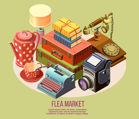 Vintage goods from flea market isometric composition with typewriter camera telephone books 3d vector illustration Illustration