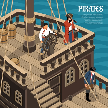 Pirates during voyage on sail wooden vessel on sea background isometric vector illustration