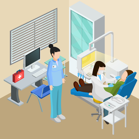 Medical equipment isometric composition with dental surgery interior human characters of doctors patient and therapeutic facilities vector illustration