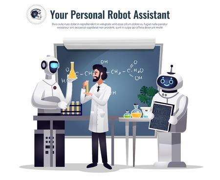 Robots dans la composition plate de recherche scientifique avec des assistants humanoïdes automatisés effectuant des tests dans une illustration vectorielle de laboratoire chimique