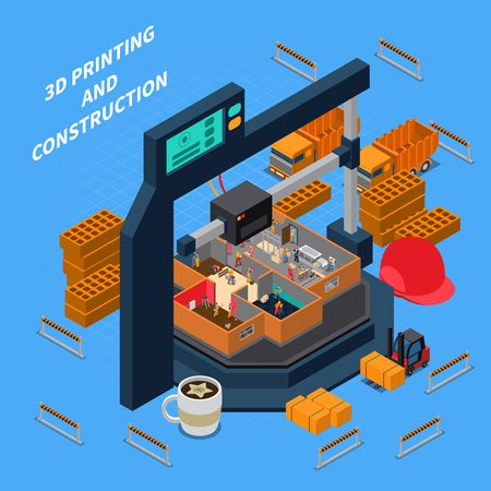 Printing industry isometric composition with images of 3d printing facilities with bricks and editable text vector illustration