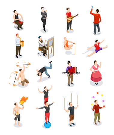 Artistas callejeros gente isométrica músicos y gimnastas pintor bailarín y maestros de trucos aislados ilustración vectorial