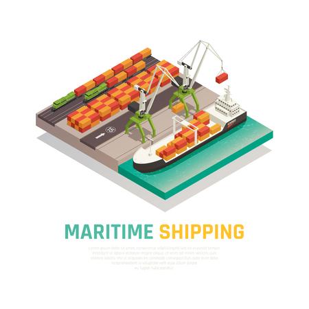 Isometrische Zusammensetzung der Seeschifffahrt, die das Laden von Fracht auf Lastkahn in der Vektorillustration des Seehafens veranschaulicht