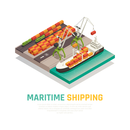 Maritime shipping isometric composition  illustrating cargo loading to barge in seaport   vector illustration